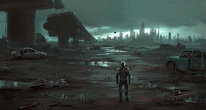 Humans return to the destroyed earth, 3D illustration.