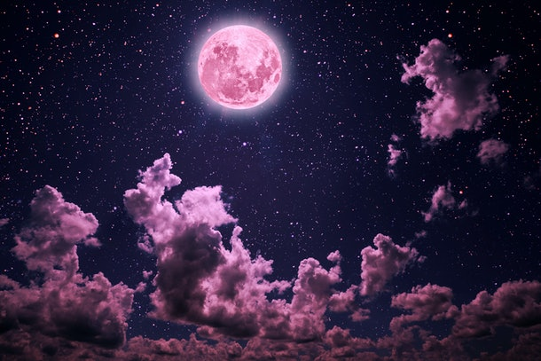 backgrounds night sky with stars and moon and clouds. Plastic Pink color. Elements of this image furnished by NASA
