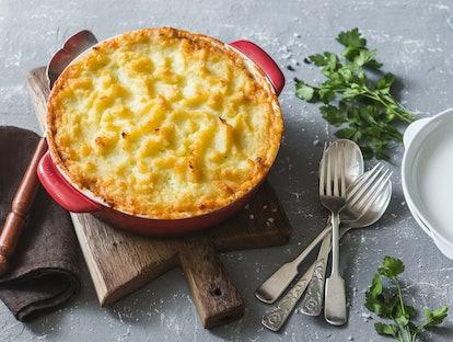 Vegetarian shepherd's pie. Potatoes, lentils and seasonal garden vegetables casserole. Autumn vegetarian lunch
