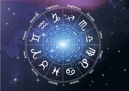 zodiac wheel signs with space background-vector