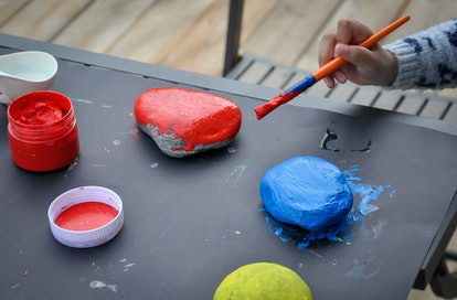 painting rocks is a great independent activity