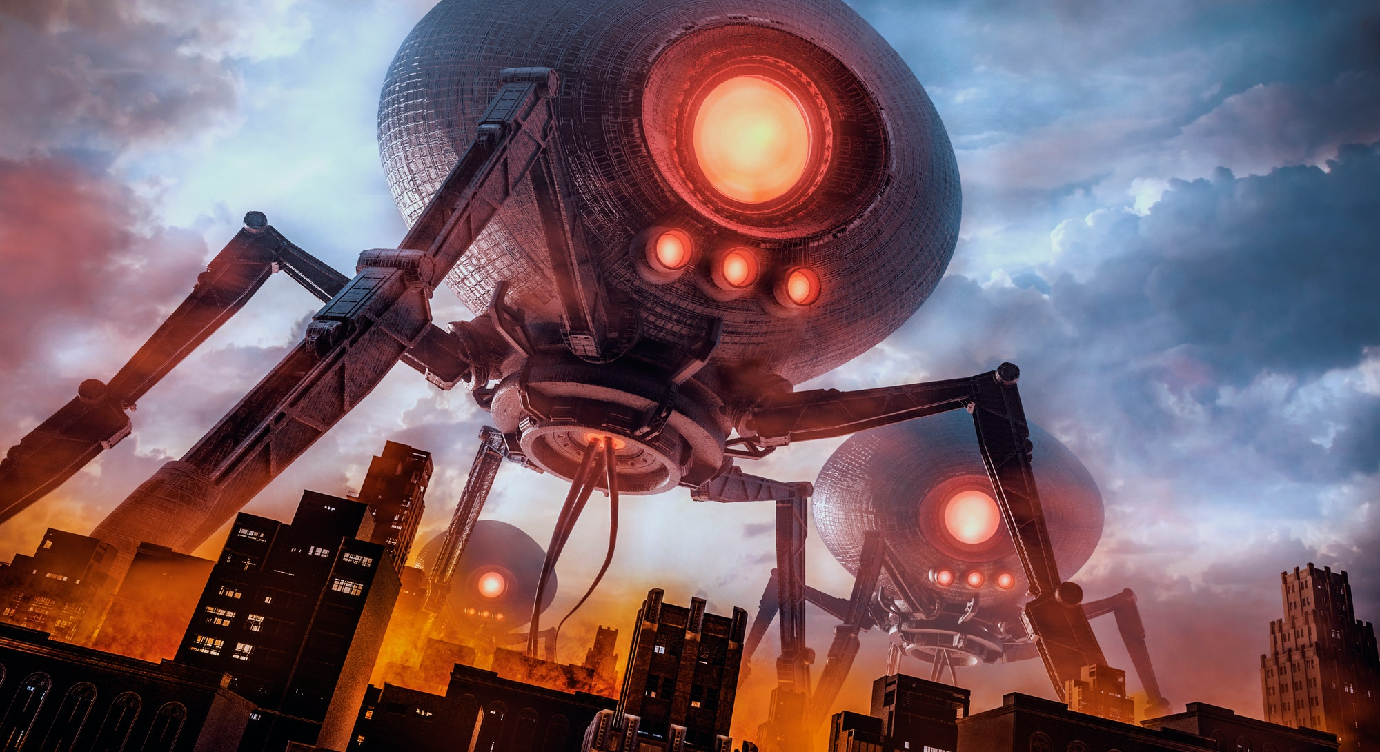 The eve of invasion / 3D illustration of retro science fiction scene with giant alien machines attacking city