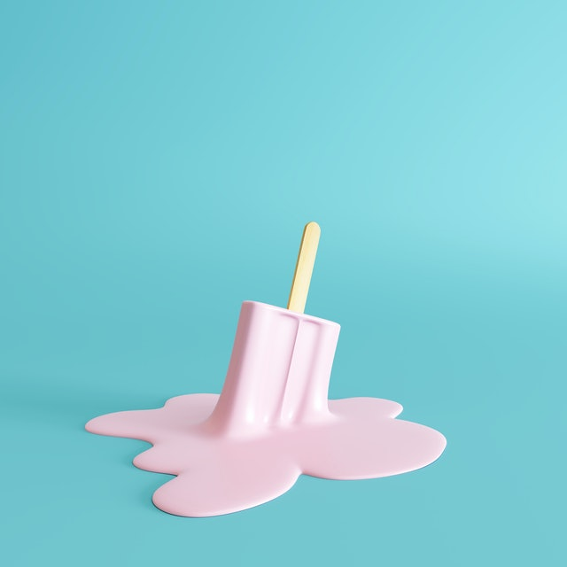 Pink stick ice cream melting on pastel blue background. Minimal summer concept. 3d rendering