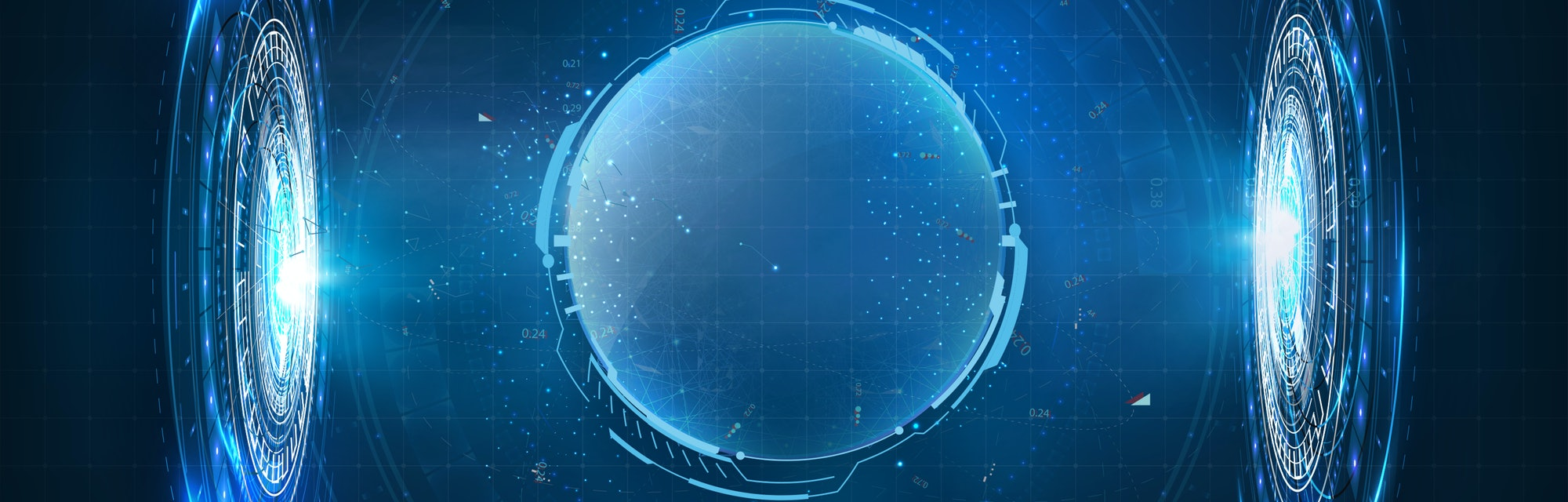 Dome shield geometric on a blue futuristic background. Hologram Bubble shield. Blank display, stage ...