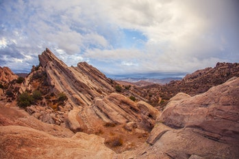 Stunning red rocky mountains of geological anomaly Vasquez Rocks, Los Angeles County