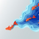 Leadership concept, Origami red orange paper fish on blue water polygonal trendy craft style, Paper ...