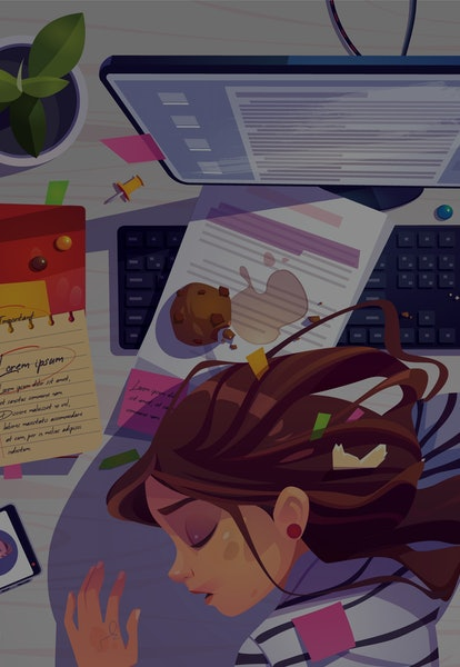 Woman sleep on workplace top view, tired girl lying on messy office desk with rubbish, spilled coffee and documents near computer. Working burnout, student prepare to exam, Cartoon vector illustration