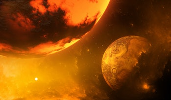 early solar system theia and earth collision illustration