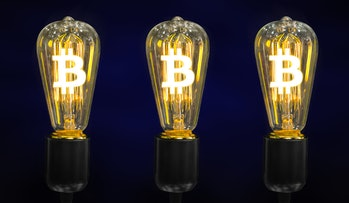 Money making idea. Light bulb with Bitcoin symbol.