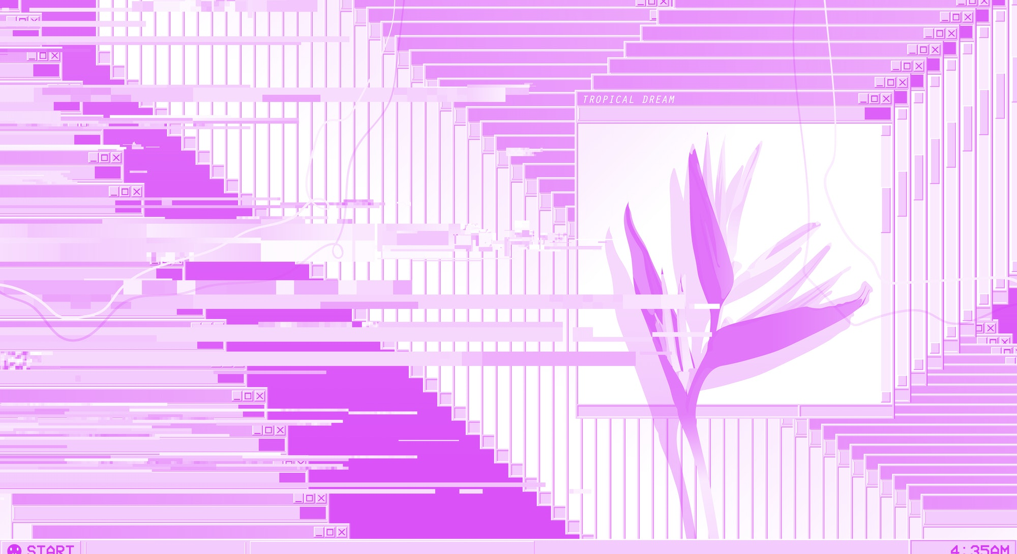 Operation system desktop display glitch and error with tropical bird of paradise flower, vaporwave nostalgic background template
