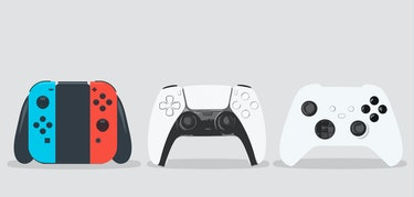 Game controllers on white background