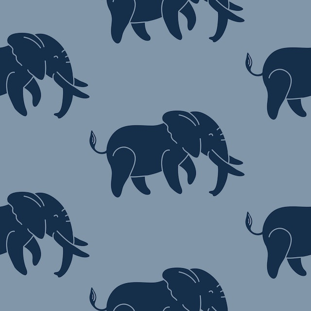 Dark blue elephants on a blue background seamless vector pattern. A repeating pattern for textiles, wallpaper, wrapping paper, apparel, and packaging