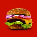 Fresh Tasty Burger Isolated On Red Background