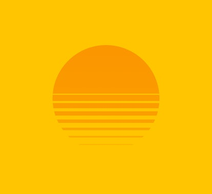 Retro sunset above the sea or ocean with sun and water silhouette. Vintage styled summer logo or icon design isolated on white background. Vector illustration.