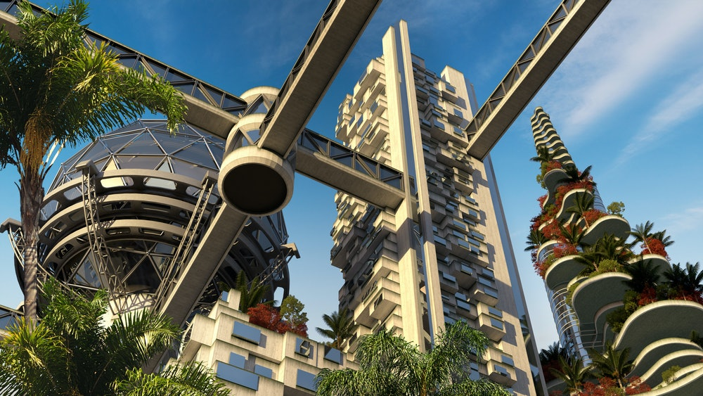 3D Illustration futuristic environmental city architecture with building terraces covered in vegetat...