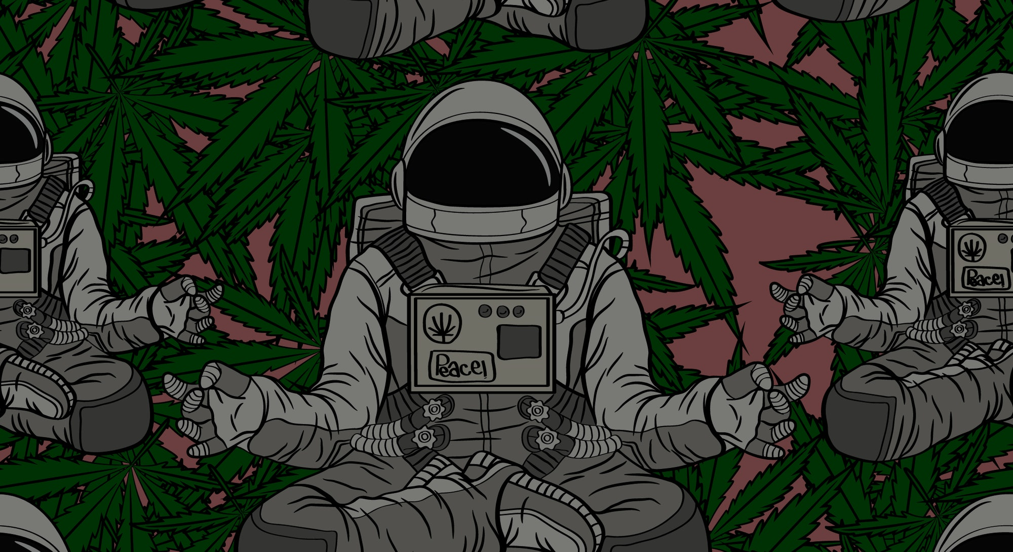 Seamless pattern Astronaut meditation with cannabis background pink