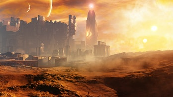 3D rendering of a majestic science fiction concept city with epic celestial sky environment during a...