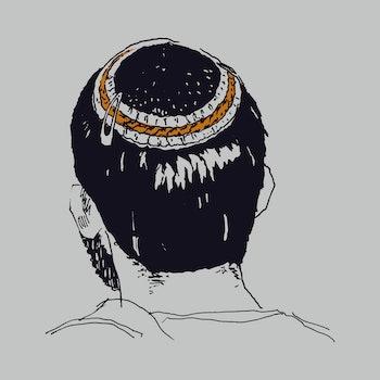 Hand drawn sketch art of a young man wearing a kippah or yarmulke