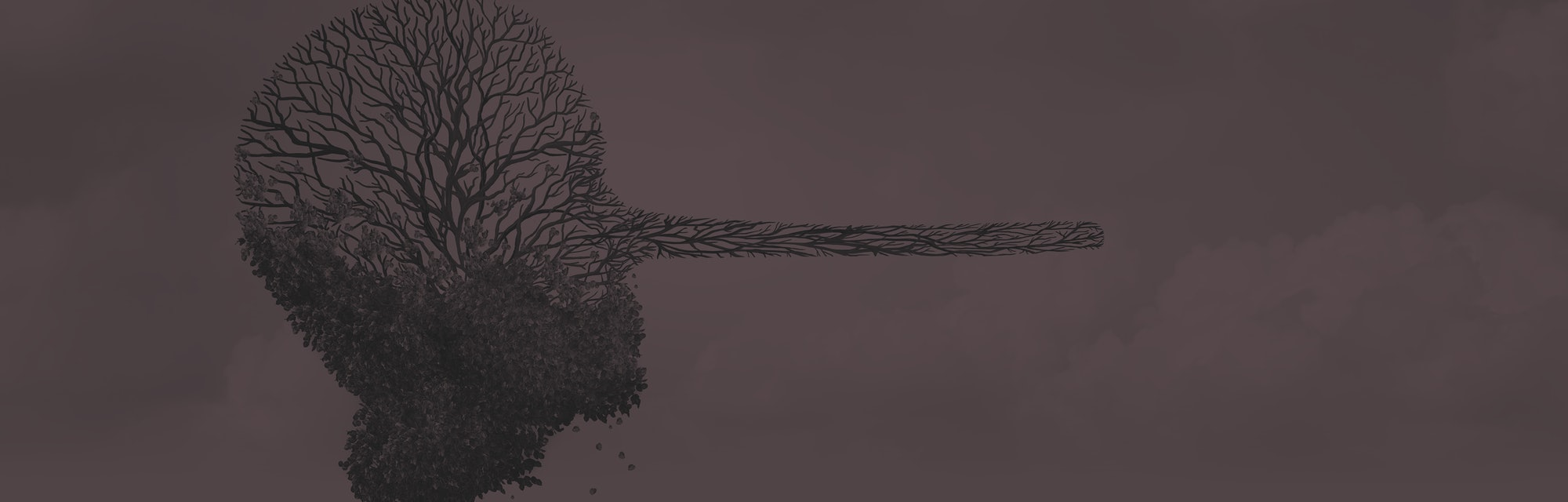 Climate change denier concept as a dying sick tree shaped as a human head with a long nose as an environmental metaphor symbol for global warming disinformation with 3D illustration elements.
