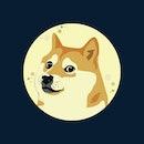 Dogecoin Doge Against Full Moon