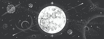 Modern magic witchcraft card with astrology moon on outer space background. Realistic hand drawing full moon vector illustration