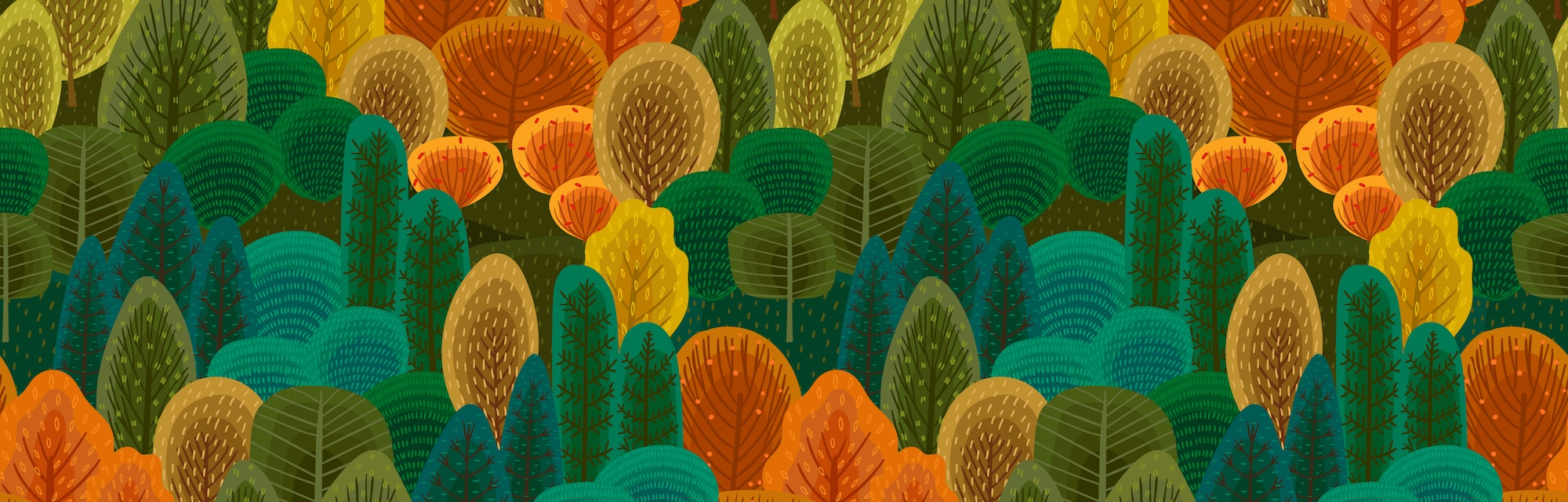Abstract seamless pattern with autumn forest. Vector background for various surface. Trendy hand drawn textures.