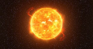 Betelgeuse star against starry sky artistic vision, elements of this image furnished by NASA