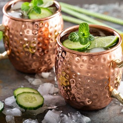 Moscow mule cocktail with lime, mint and cucumber
