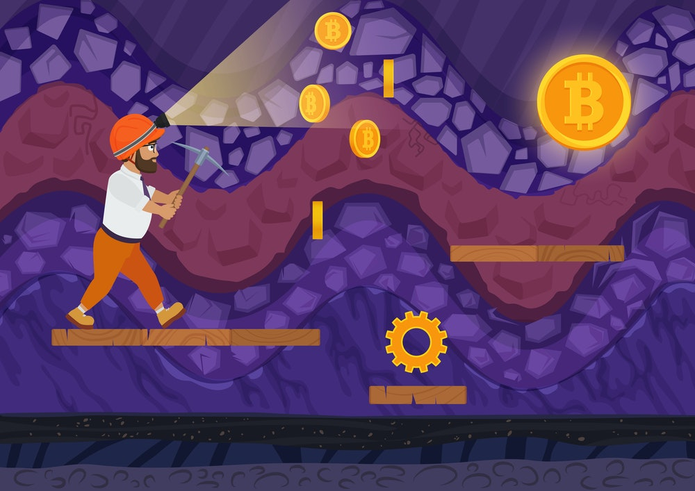 Vector illustration of man walking with pickaxe in bitcoin mine. Cartoon 2d game style illustration.