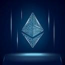 Ethereum ETH cryptocurrency token symbol, coin icon on dark polygonal wireframe background. Digital ...