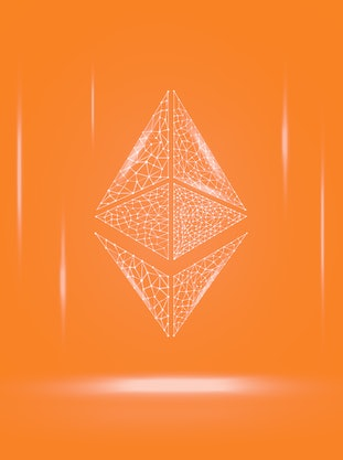 Ethereum ETH cryptocurrency token symbol, coin icon on dark polygonal wireframe background. Digital gold for website or banner. Vector EPS10.