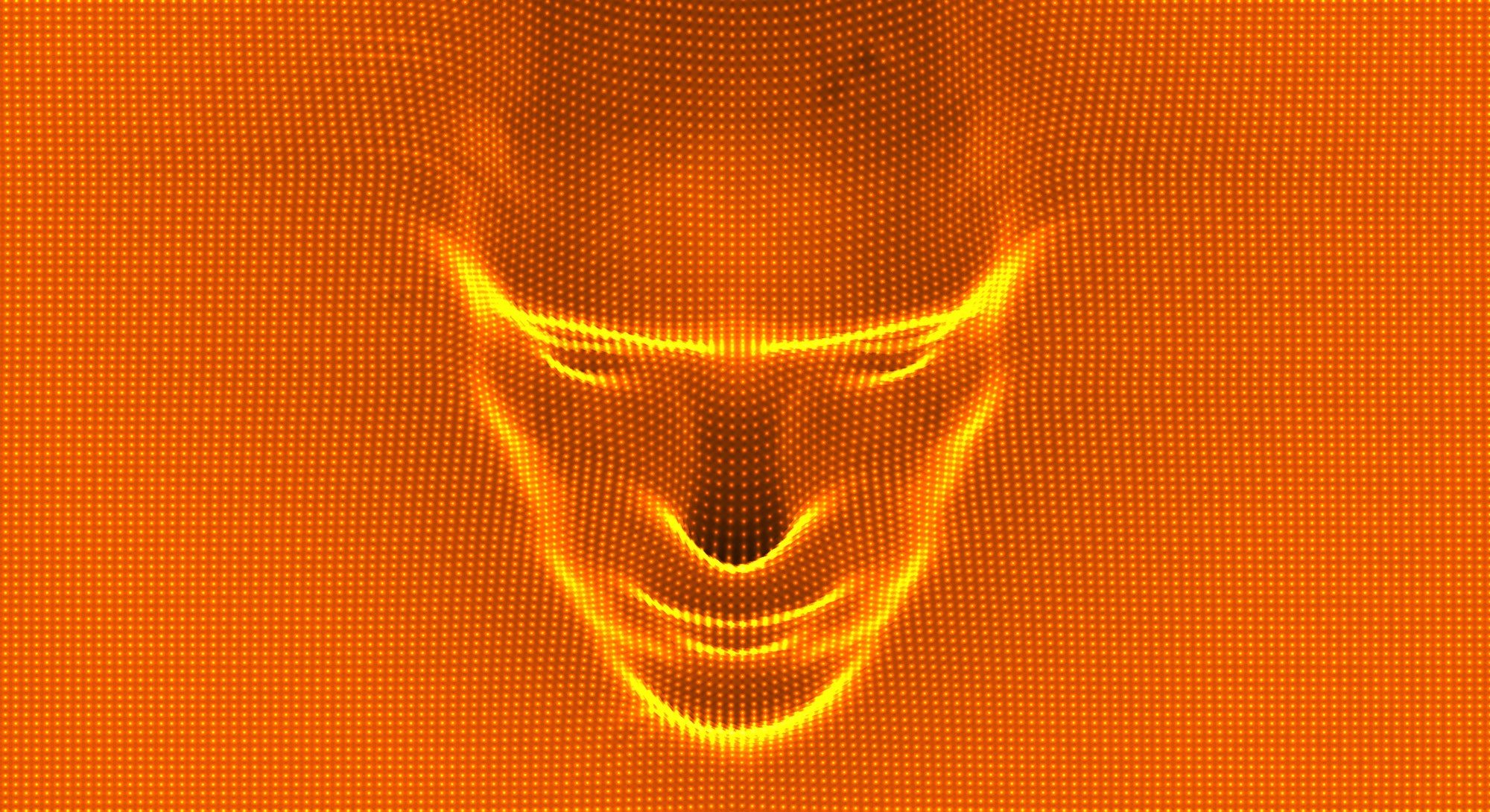 3D human face extruded from dotted pattern. Technology and robotics concept. Anonymous social masking. Cyber crime and security vector illustration.
