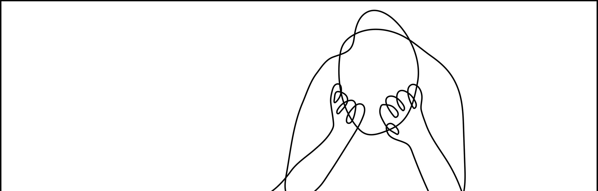 Continuous line drawing of very sad man sitting alone with headache touching forehead on white background.