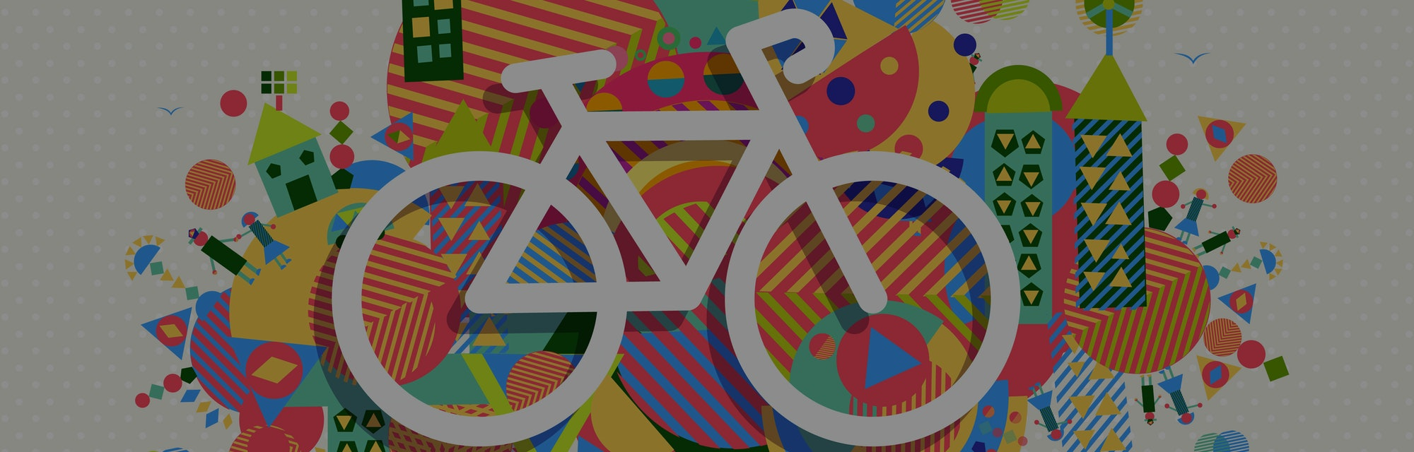 Go green bike concept poster design. Vibrant colors geometric eco environment shapes with bicycle outline icon illustration. EPS10 vector.