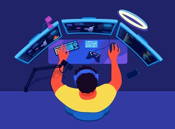 Video game streamer broadcasting. PC gaming broadcast. A live streamer, a gamer man with a microphon...