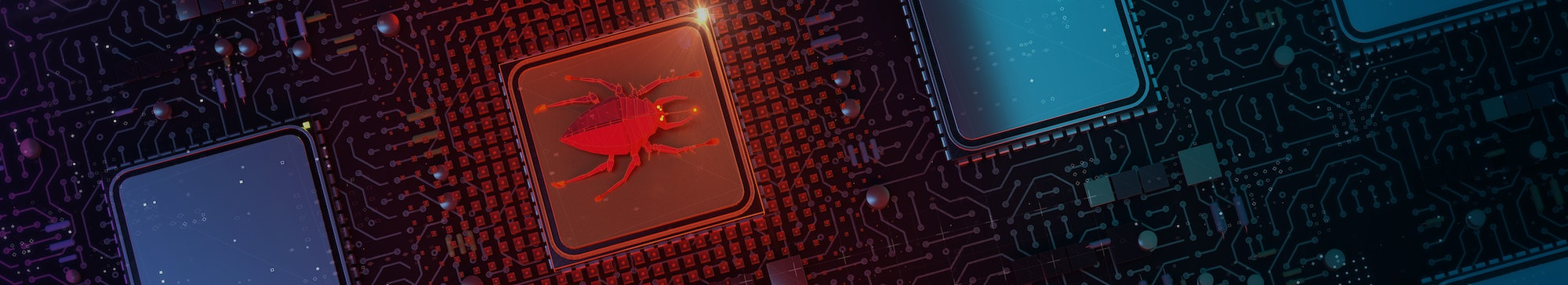red glowing compiter bug on infected chip in cyberspace 3d redner. spyware, malware, virus trojan, k...