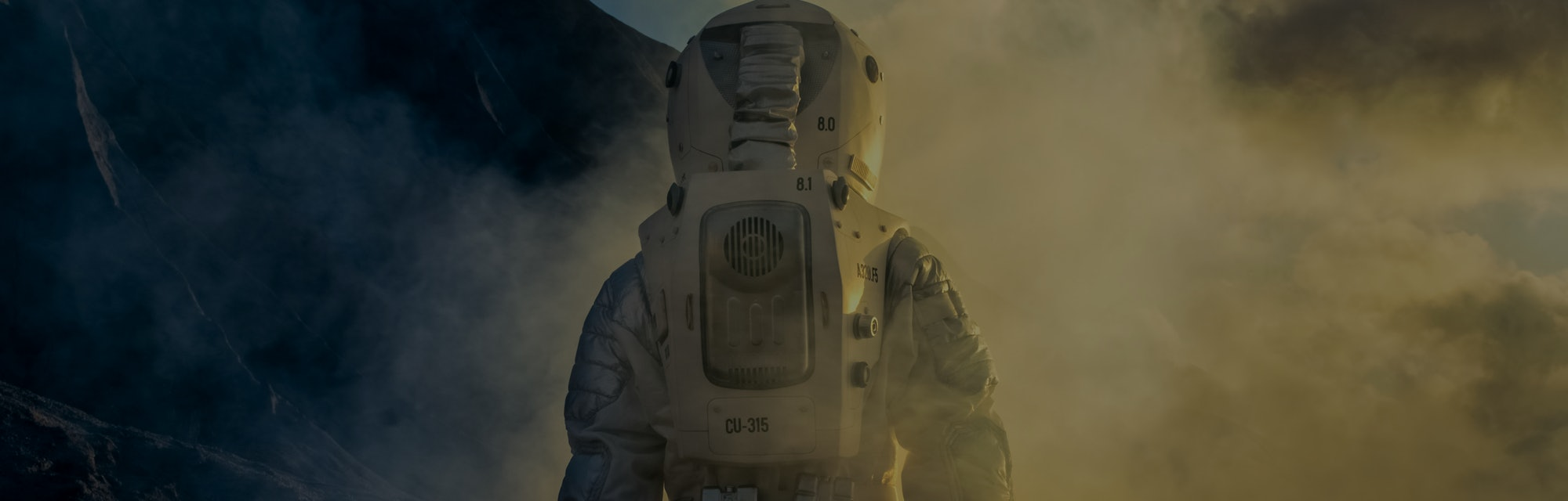 Courageous Astronaut in the Space Suit Explores Mysterious Alien Planet Covered in Mist. Adventure. ...