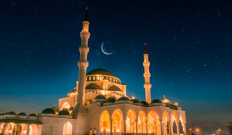 Dubai Tourism and Travel Spot Sharjah New Grand Mosque second largest mosque in Middle east, Beautiful night view of mosque with stars and moon, Amazing Islamic architecture design