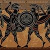 Ancient greece warrior.Black figure pottery.Ancient greek scene banner.Hero,spartan,myth.Ancient civ...