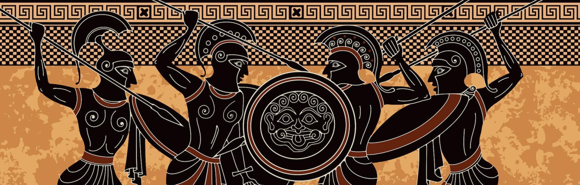 Ancient greece warrior.Black figure pottery.Ancient greek scene banner.Hero,spartan,myth.Ancient civilization culture.