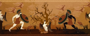 Ancient Greece battle scene. Horizontal seamless pattern. Spartan warriors. Meander circle style. Red figure techniques. Mythology and legends. Greek vase painting concept