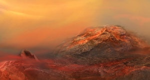 Dramatic nature background of Volcanic breed of Planet Hell, Mars rocky surface.