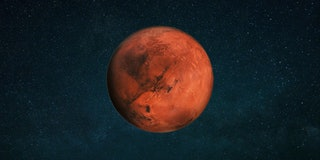 Planet Mars in the starry sky. Red planet in space