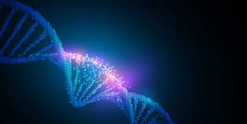 Human dna virus infection .Glowing neon DNA chain.Biotechnology, biochemistry, genetics and medicine concept.Vector