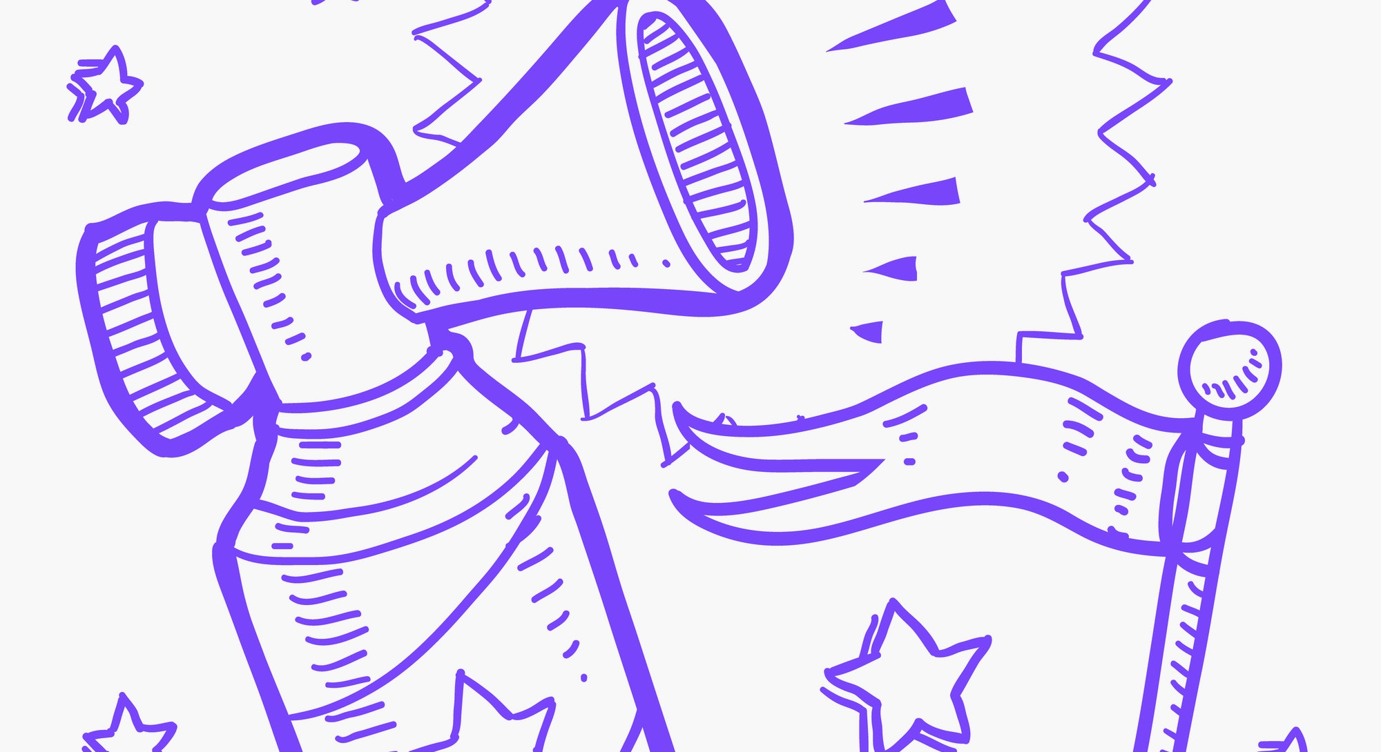 Doodle style announcement icon in vector format.  Sketch includes air horn, and flag. YouTube. YouTu...