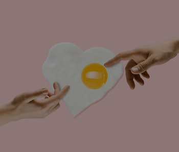 An alternative food. Touch of God - two hands and fried egg against trendy coral background. Negative space to insert your text. Modern design. Contemporary colorful and conceptual bright art collage.
