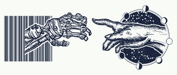 Human and robot's hands tattoo. Symbol of spirituality, religion, connection and interaction, people...