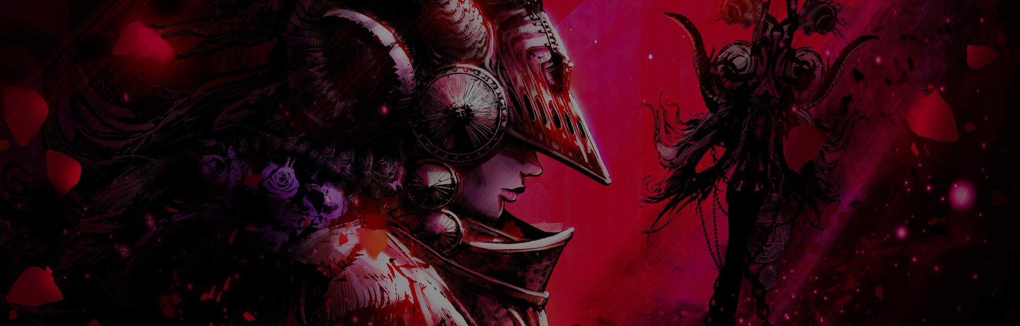 A shaman woman illuminated by a red beam of light, wearing an unusual iron helmet with horns , her face dramatically hidden in the shadows, in her hand a post with a lot of small things 2D