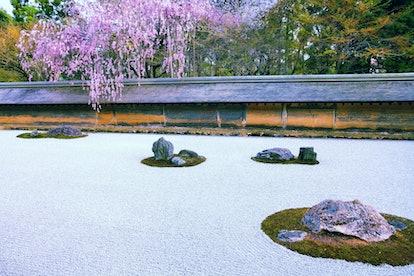 zen stone garden at Ryoanji Temple wabi-sabi decor