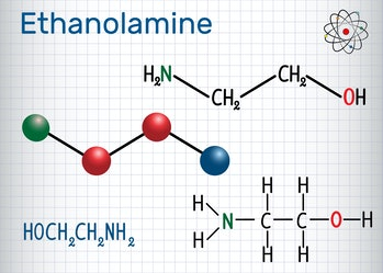 Ethanolamine (ETA or MEA) molecule .  It is a primary amine and a primary alcohol. Sheet of paper in a cage. Structural chemical formula and molecule model. Vector illustration